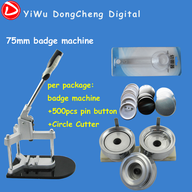 Free Shipping 3(75mm) Badge Machine with 500set Button +Circle Cutter Interchangeable Moulds and Badge Maker Button Machine free shipping new pro 1 1 4 32mm badge button maker machine adjustable circle cutter 500 sets pinback button supplies