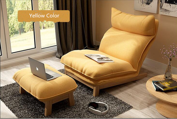 Back Reclining Fabric Upholstered Lounge Chair and Ottoman Set W/Solid Wood Leg Living Room Sleeper Bed Leisure Recliner Lounger
