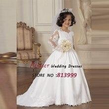 2016 Customized Lovely Cute Vestidos De Fiesta Tulle Satin Appliques Bow White Ivory Flowers Girl Dresses AR1122