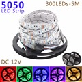 SMD 5050 LED fita strip light 5M/Roll DC12V 60leds/m for home decoration/party RGB/White/Warm White/Red/Green/Blue Free Shipping