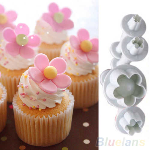 4pcs Plum Flower Plunger Fondant Mold Cutter Sugarcraft Cutting Mastic Cake Cookie Decorating Tool Bakeware Baking Dish Plungers