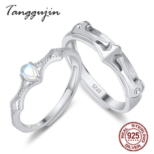 Tanggujin Couple Rings Adjustable 925 Sterling Silver Moonstone Wedding Band For Women Men Lovers Finger Engagement Ring
