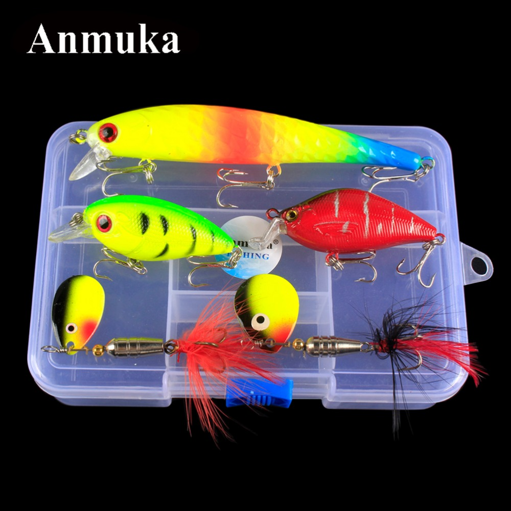 Anmuka 5Pcs Fishing Lure Kit Crankbait Minnow/Popper Lures Isca Crankbait Baits Pesca Fishing Hook Set 14*10*3.5cm Fishing Case 3pcs lot fishing lures mixed set minnow crankbaits topwater popper hook lure spinner baits crankbait bass wobbler tackle hook