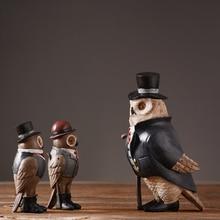 цена на Nordic resin Owl ornaments rustic home decor Arts and Crafts fairy garden miniature figurines resinas planas de personajes