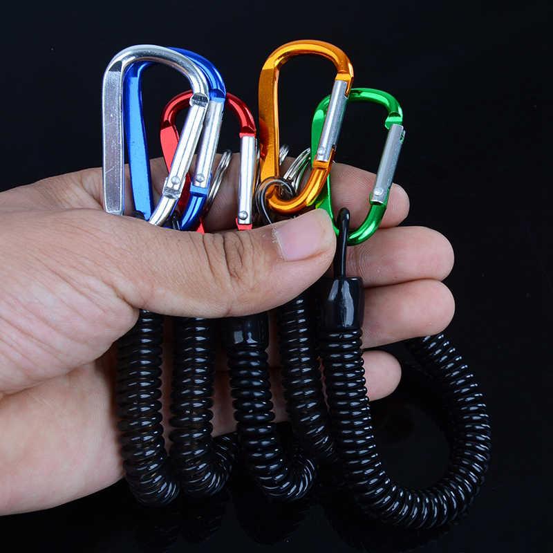 Tático retrátil plástico mola elástica corda ferramenta de engrenagem de segurança para airsoft caminhadas ao ar livre acampamento anti-perdido telefone chaveiro