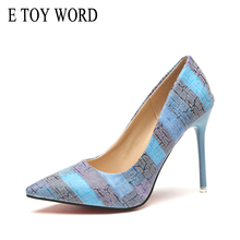 E TOY WORD women shoes Pumps 10CM size 34-42 Fine heel Pointed Toe Fashion High Heel Shoes Woman Wedding Shoes Zapatos Mujer стоимость