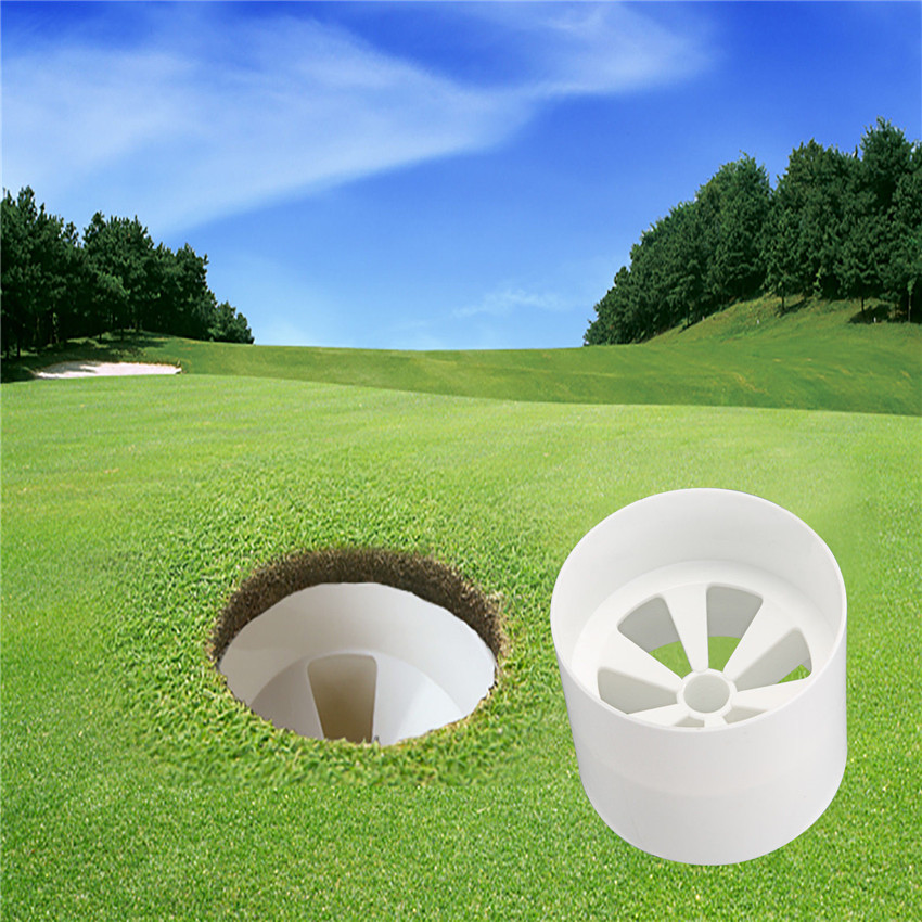 Golf Hole Cup Plastic Training Aid Tools  Backyard Cup White Stick Putting Chipping Pole Cup Putter Yard Garden Decorate
