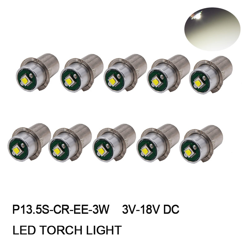 10Pcs White DC 3V 18V P13.5s PR2 PR3 PR4 High Power 3W XPG LED Bulb Upgrade Lamp for Mag lite 6d/6c Cell Torch Flashlights-in Car Headlight Bulbs(LED) from Automobiles & Motorcycles