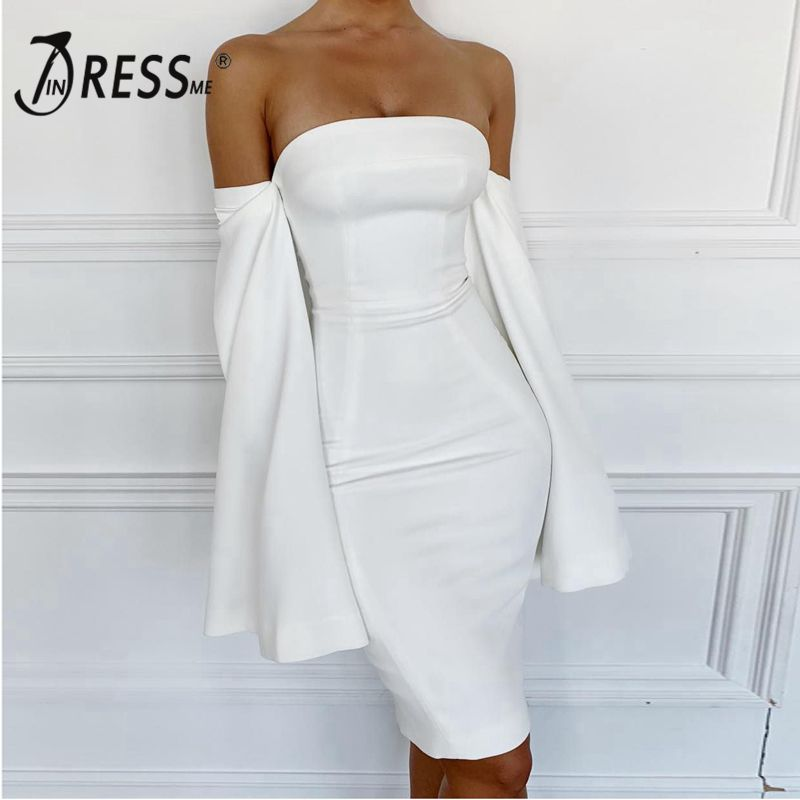 INDRESSME 2019 New Sexy Off The Shoulder White Party Club Strapless Long Slit Sleeve Midi Bandage