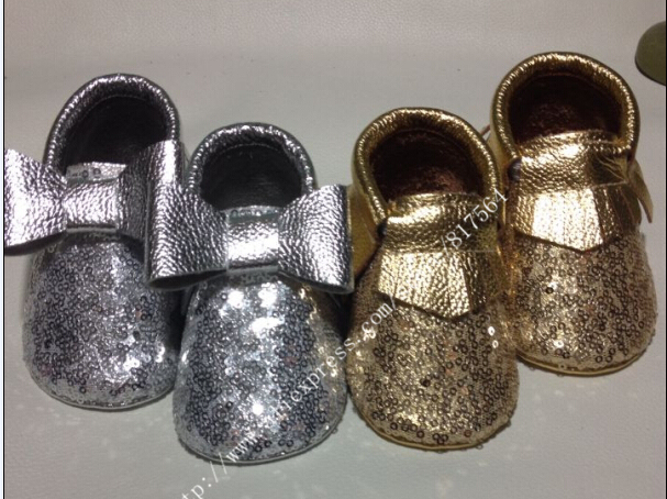 Metallic new gold silver sequins Genuine Cow Leather Baby Moccasins bow Soft Shoes Newborn first walker Anti-slip Infant Shoes