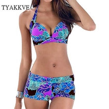 Bikini Set 2019 Sexy Push Up Swimsuit Plus Size Swimwear Women Vintage Beachwear Halter Print Bikini Bathing Suit Shorts S-XXXL недорого