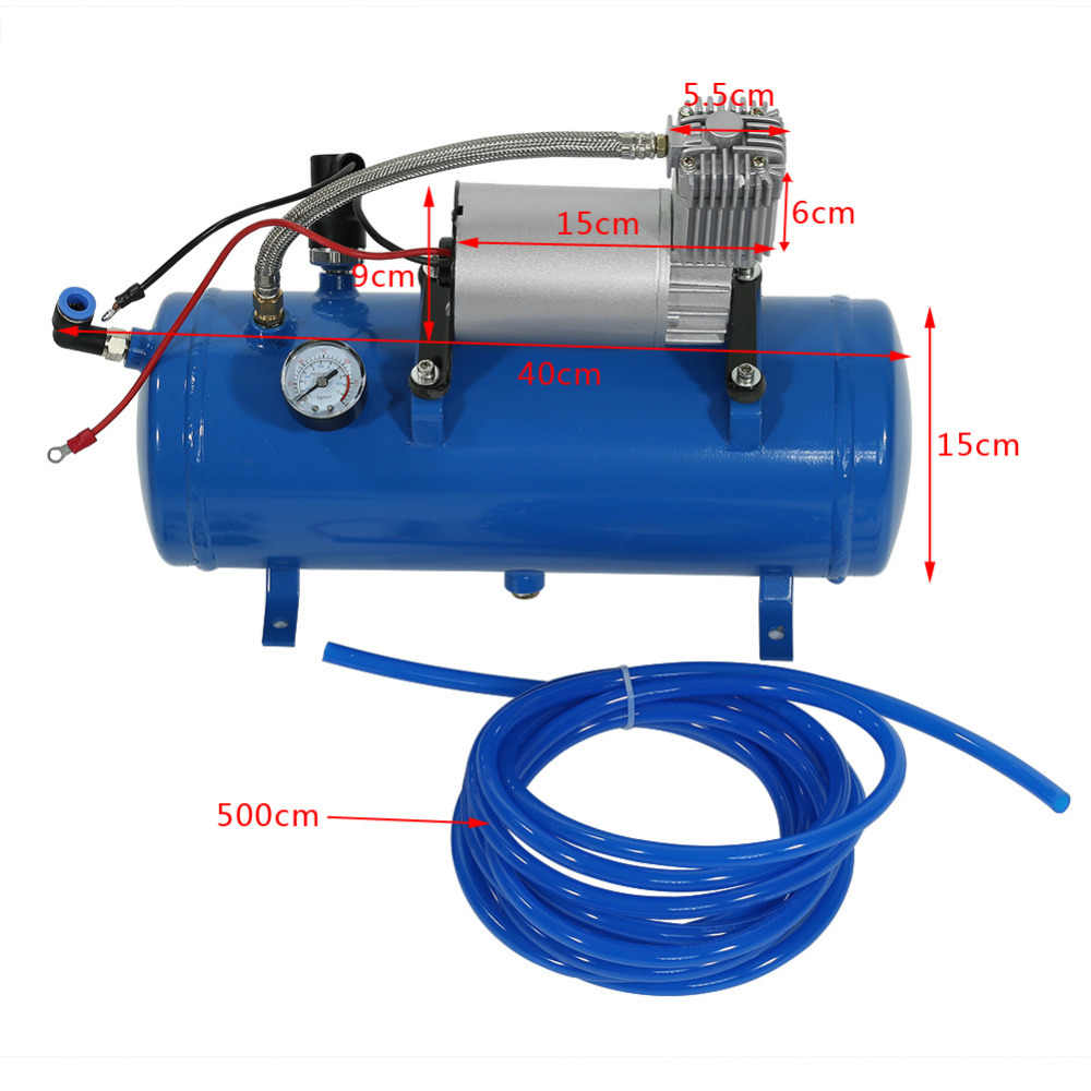 150psi 12V Mini Electric Air Compressor with 6 Liter Tank Tyre Inflator Pump for Air Horn Train Truck RV Auto Bicycles Tire