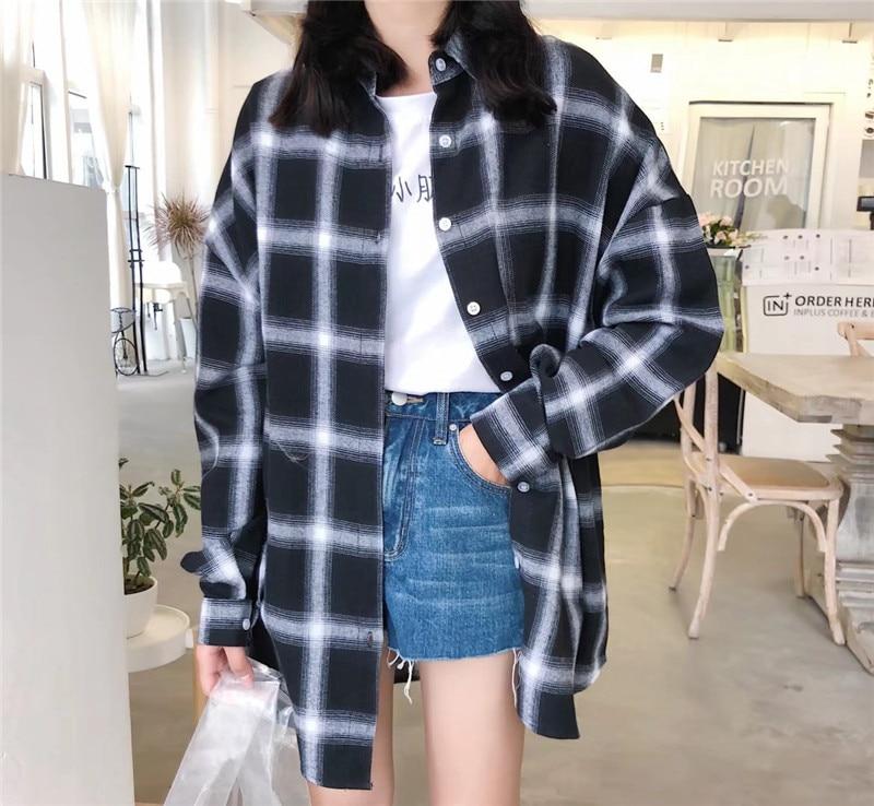 2018 Summer New Women Harajuku Cotton Linen Plaid Shirts Long Sleeve Oversize Long Fashion Blouse Women Summer Sunscreen Tops