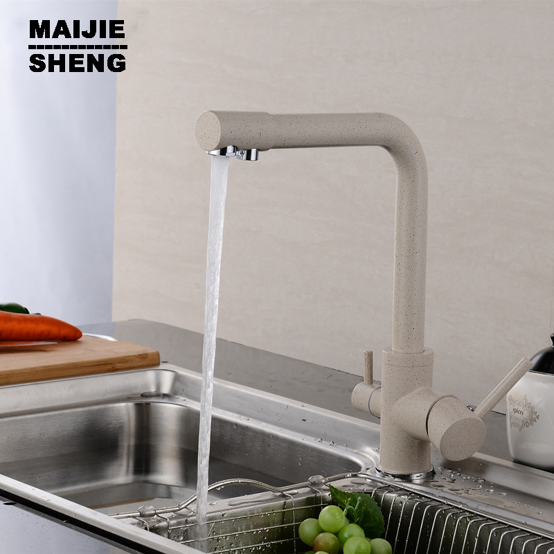 kitchen faucet 3 way double function filler Kitchen Faucet Dual function 3 way water filter kitchen faucet marble pure water
