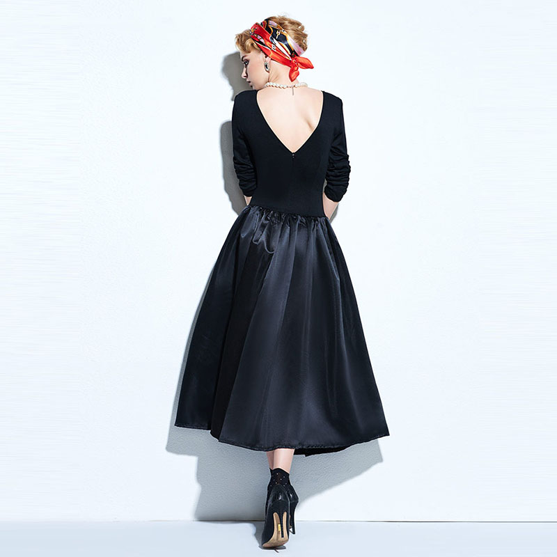 Clocolor Vintage Women Dresses 2017 Spring Black A-Line Party Backless Pullover Dresses Long Sleeve Knee-Length Vintage Dresses 5