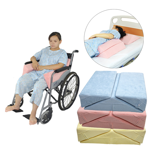 3X Anti Bedsore Bedridden 환자 노인 침대 웨지 베개 고도 지원 쿠션 패드 다리 허리 허리 휠체어 세트