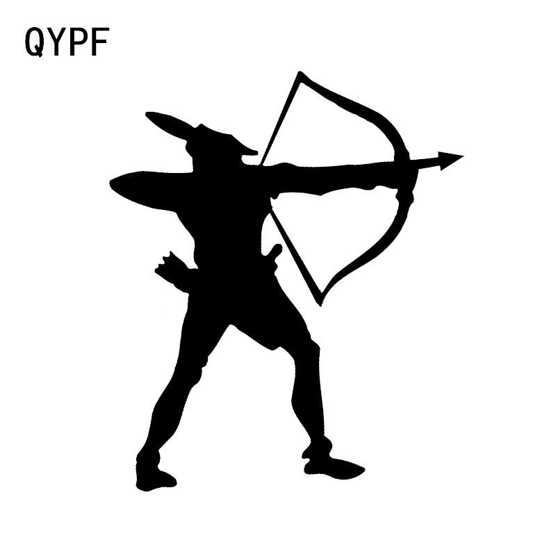 QYPF 11.3*13.5CM Fashion Archery Hunter Decor Car Modelling Sticker Silhouette Vinyl Accessories C16-1602