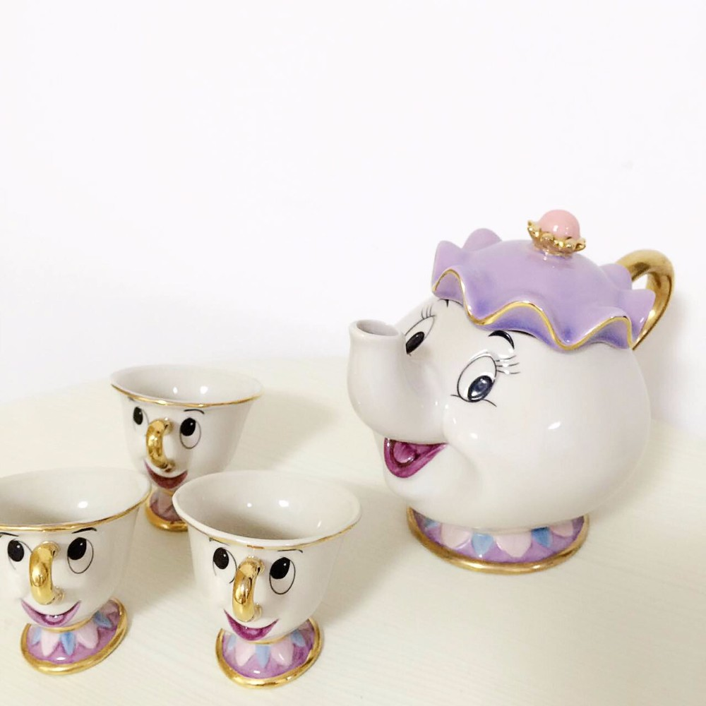 1 POT 3 CUPS Cartoon Beauty And The Beast Mrs Potts Chip Coffee Tea Set Pot