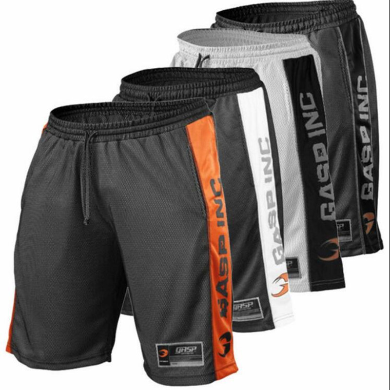 Mens Sports Basketball Gym Bodybuilding  Running Shorts Loose Breathable Quick-drying Mesh Five-minute Pant Stripe Shorts