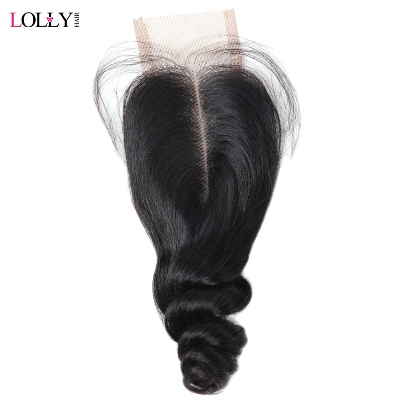 Lolly Malaysian Loose Wave 2X4 Middle Part Lace Closure Pre Plucked With Baby Hair Natural Black Remy Human Hair Lace Closure