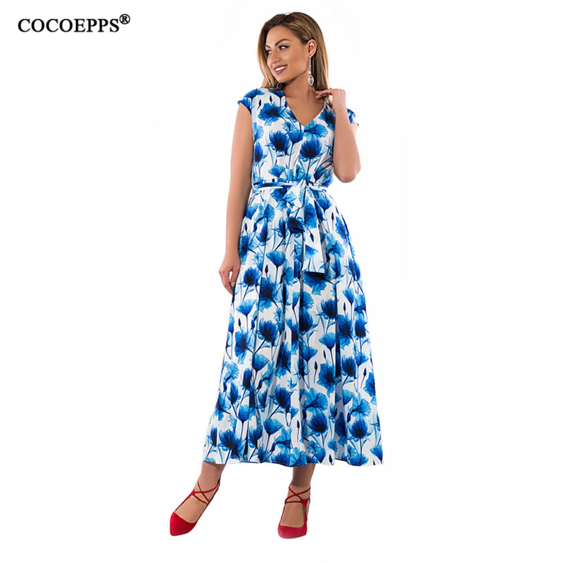 Large Size long dress 2018 summer women big sizes vintage casual dress printing Floral plus size female beach maxi dress 5XL 6XL