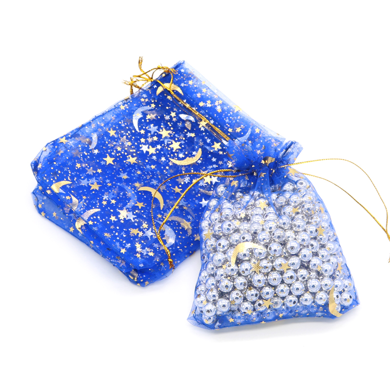 1000pcs/lot,7x9 9x12cm Drawable Organza Bags Moon Star Print Wedding Christmas Gift Bag Candy Jewelry Packaging Bags & Pouches