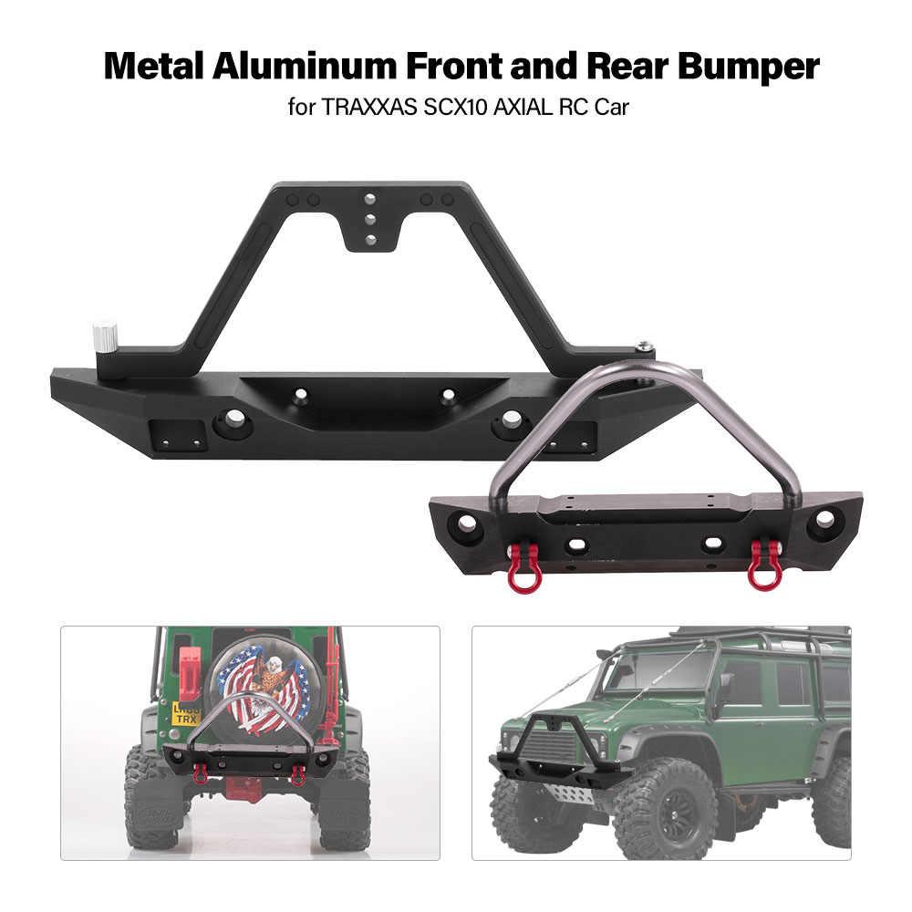 SCX10 90046 CNC Передний Задний бампер Bull БАР с запасное устройство для крепления запасного колеса 4LED фары для Рок Гусеничный RC грузовик SCX10 II Jeep Wrangler
