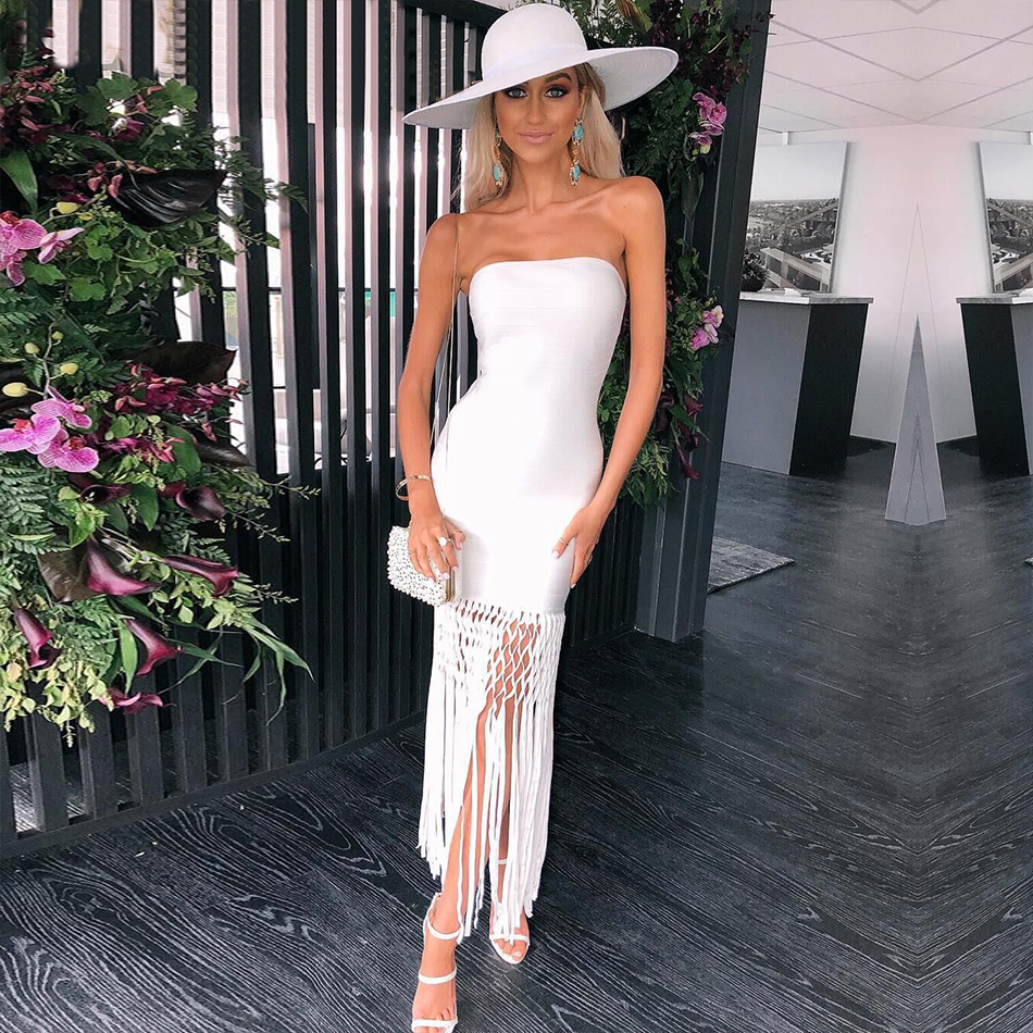 Adyce 2019 New Summer Bodycon Bandage Dress Women Vestidos White Tassel Strapless Maxi Club Dress Celebrity