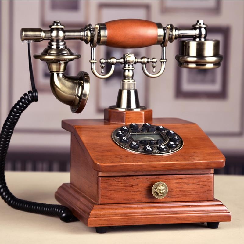 цена на Fashion Wood Phone Antique Landline Telephone Vintage Phone Home Phone Fitted Landline Phone Telefone With RD Box Drawer