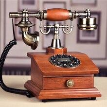 Legno moda Telefono Antico Fisso Vintage di Casa Montato Telefoni Con Il RD Box Cassetto