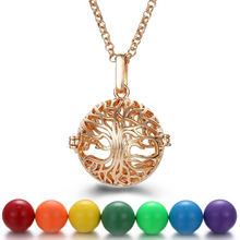 New Gold Tree of Life  Aromatherapy Necklace Music Angel Ball Caller Locket Necklace Pregnancy Necklace Essential Oil Diffuser mexico chime music bell angel ball caller locket necklace flower pregnancy necklace perfume aromatherapy essential oil necklace