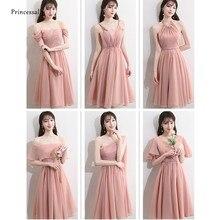 79d21cbcbe Nueva Pink vestidos De dama De gasa longitud del té para el otoño plisado  correa De
