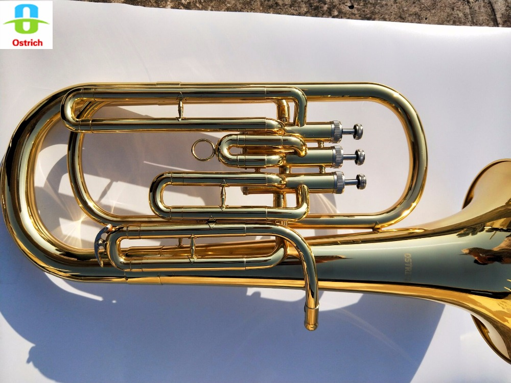 Bb Baritone Horn Silver Plated Mouthpiece Gold Lacquered Brass Body Stainless Steel Valves with Case