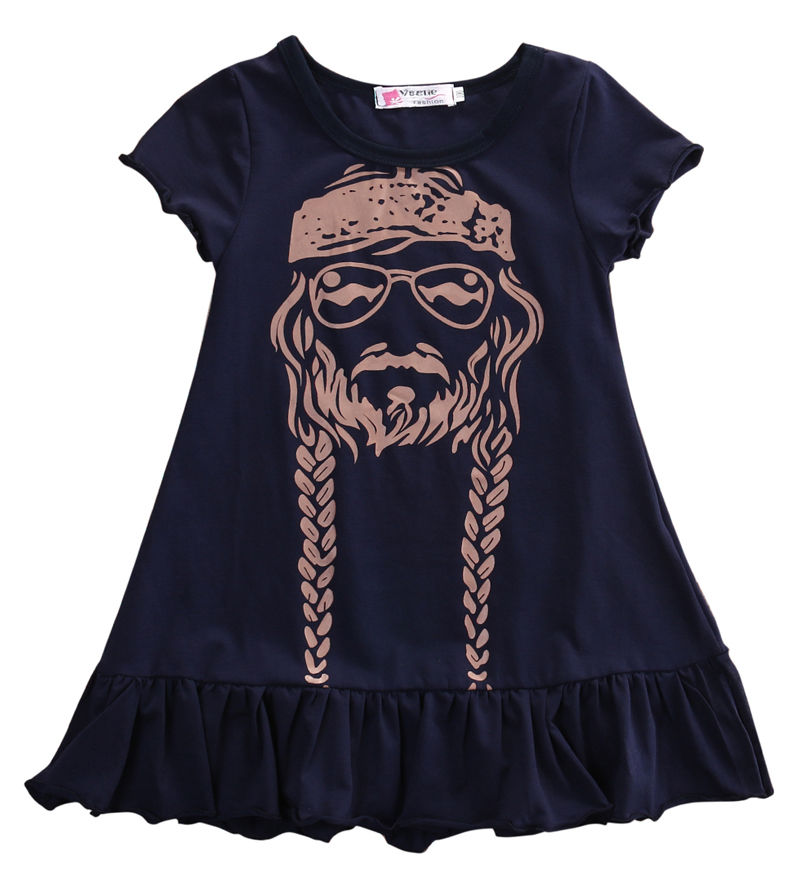 Baby Girls Clothes Head Portrait Print Dresses Ruched Black Dress Vogue Girls Bebe Kids Children Clothes