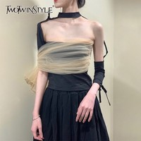 TWOTWINSTYLE Summer Mesh Patchwork Sexy T Shirt For Women Turtleneck Irregular Bandage Slim Tops Female Fashion 2019