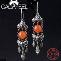 GAGAFEE 100% Real 925 Sterling Silver Hanging Earrings for Women Female Red Stone Thai Silver Jewelries High Quality