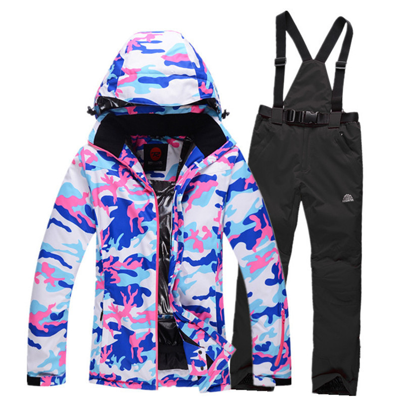 New brand camouflage women ski suit sets outdoor sports skiing snowboard jacket and pant thermal  winter jacket trouser set HX14 running river brand winter thermal women ski down jacket 5 colors 5 sizes high quality warm woman outdoor sports jackets a6012