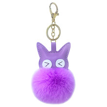 PU artificial leather big eyes kitten fur ball key buckle hanging piece ladies suitcase bag car key hanging accessories small gi(China)