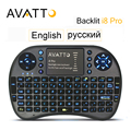 [Avatto] ruso/inglés i8 pro retroiluminada 2.4g mini teclado inalámbrico touch pad gaming aire ratón para smart tv/android caja/pclaptop