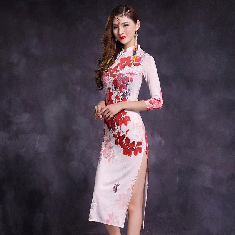 New Women Bellydance Costume Sexy Cheongsam Dress Oriental Dance Costumes Belly Dance Skirt Long Sleeve Stage PerformanceDQS1249