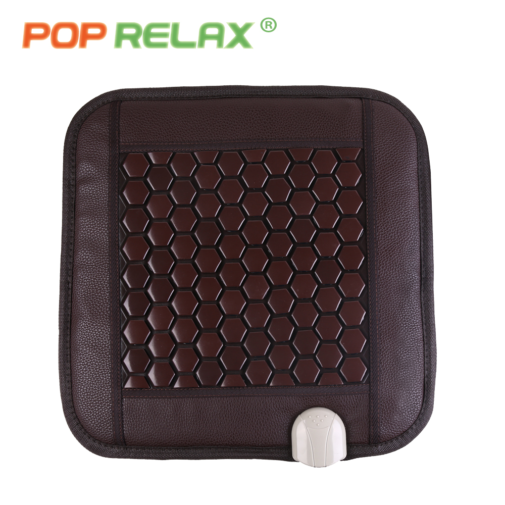POPRELAX tourmaline stone seat mattress ion thermal physiotherapy health care heating massage pad mat germanium sitting mattress