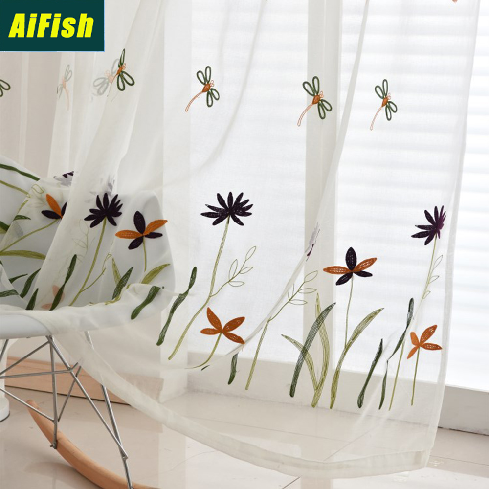 Dragonfly Embroidered White Sheer Voile Curtains For Kids Room Bedroom Line Look Window Tulle Fabric Ready Made Drapery TM0203