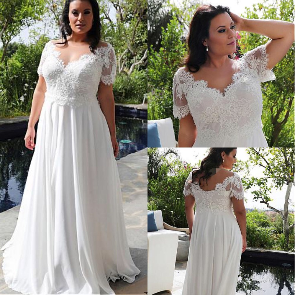 Brilliant Tulle & Chiffon V-Neck A-line Plus Size Wedding Dresses With Beaded Lace Appliques Floor Length Bridal Gowns