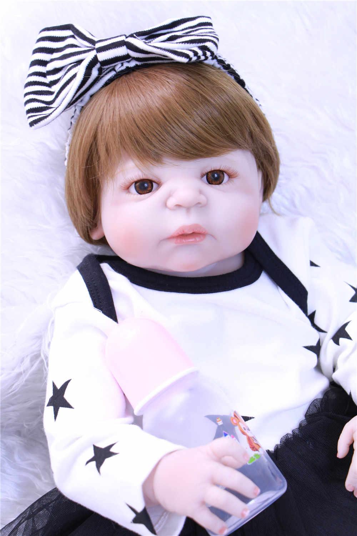 Около 55-57 см Силиконовые Детские реалистичные куклы-реборн кукла младенца черное платье принцессы подарок для девочек для детей DIY bebes reborn