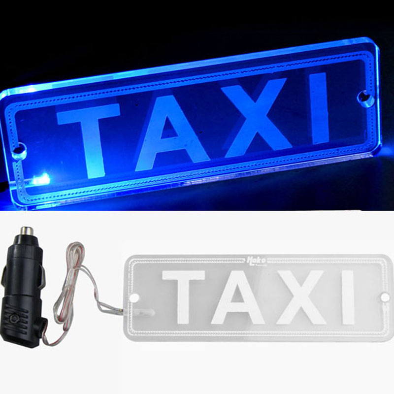 12V Blue LED Transparent PMMA TAXI Board Neon Light Lamp Top TAXI Board with Car Charger Plug