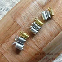 Orders Over 10 Inner Size 5mm 200Pcs Pack Rope Cord Spring Crimp End Jewelry Accessories