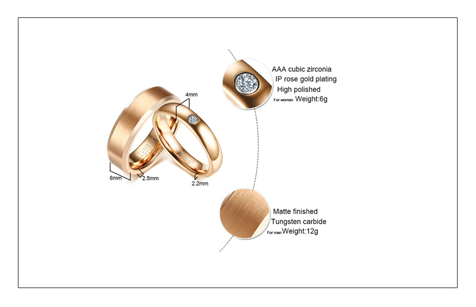 Meaeguet Rose Gold Color Tungsten Carbide Couple Ring For Men Women CZ Engagement Ring Wedding Jewelry Valentine's Day (3)