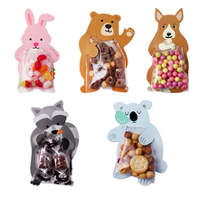 10pcs Cute Cartoon Animal Biscuits Candy Party Food Box Wedding Decorations Kids Favor Cookie Bag Gift Baby Shower Decor