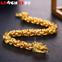Luxury Gold Thick Bracelet For Men Women Dragon Shape Plated 10mm Female Charm Bracelets Classic Fashion Noble Male Jewelry