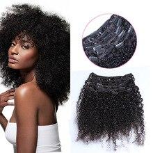 Afro Rizado Rizado Clip En Extensiones de Cabello 70G/100G/120G Brasileño de la Virgen Clip En Extensiones de cabello Cabeza Completa Clip En El Cabello Humano # 1B